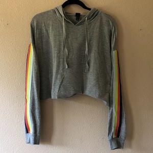 Cropped Lightweight Hoodie with Rainbow Sleeves
